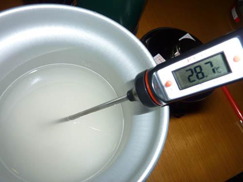 アルポットで炊飯前に温度測定