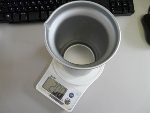 アルポット容器に水を200g