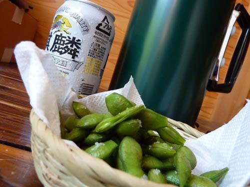 アルポットと枝豆とビール(発泡酒)