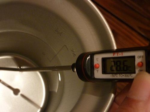 デジタルペンサーモで水温測定